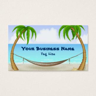 Palm Trees and Hammock Tropical Beach Business Card