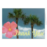 Palm Trees and Hibiscus Thank You Greeting Cards