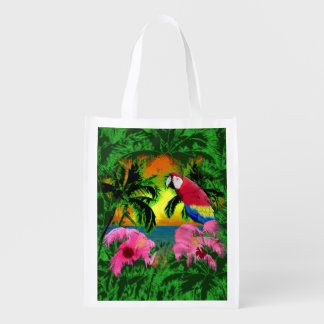 Palm Trees And Island Sunsets Reusable Grocery Bag