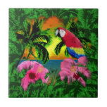 Palm Trees And Island Sunsets Tile