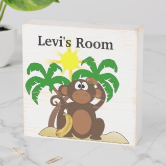Palm Trees and Monkey Cartoon Wooden Box Sign