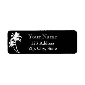 Palm trees and name return address black white