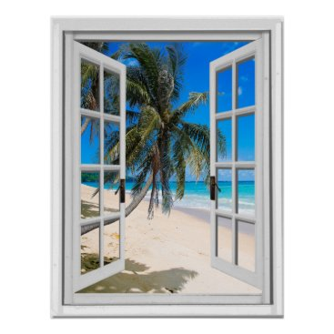 Beach Themed Palm Trees and Ocean View Faux Window Poster