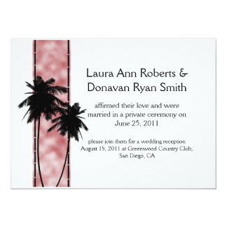 Palm Trees and Pink Post Wedding Invitation