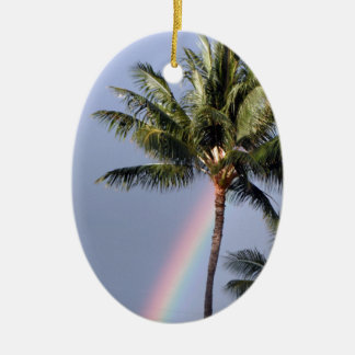 Palm Trees and Rainbow Ceramic Ornament