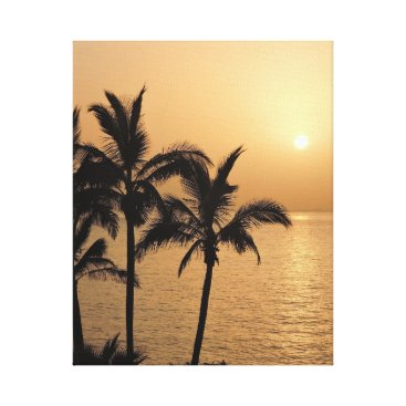 Beach Themed Palm Trees and Romantic Sunset Canvas Print