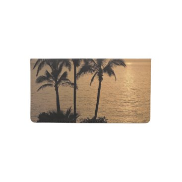 Beach Themed Palm Trees and Romantic Sunset Checkbook Cover