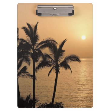 Beach Themed Palm Trees and Romantic Sunset Clipboard