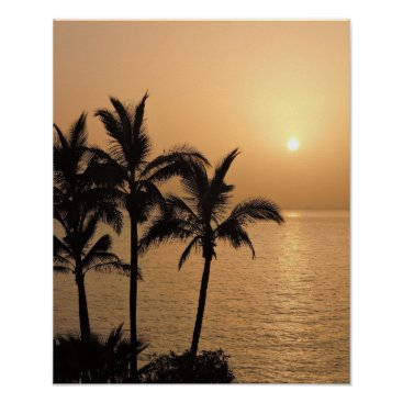 Beach Themed Palm Trees and Romantic Sunset Poster
