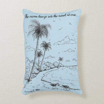Beach Themed Palm Trees and Sandpiper Beach Life Decorative Pillow