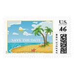 Palm Trees and Starfish Beach wedding postage