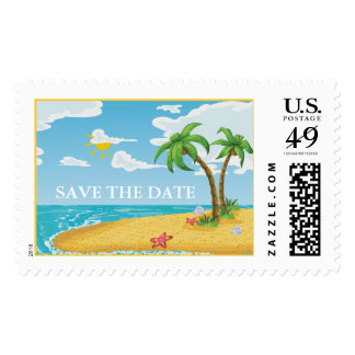 Palm Trees and Starfish Beach wedding postage