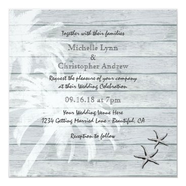Beach Themed Palm Trees and Starfish Wood Beach Wedding Invite