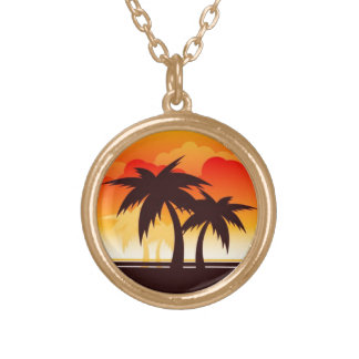Palm Trees and Sun Clouds Necklace