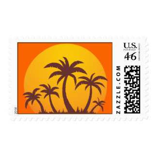 Palm Trees and Sun Postage Stamp