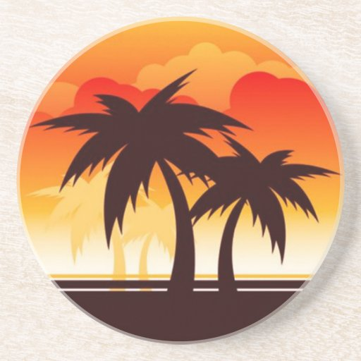 Palm Trees and Sunset Coaster