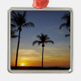 Palm trees and sunset, Mindil Beach Square Metal Christmas Ornament