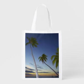 Palm trees and sunset, Plantation Island Resort Market Totes