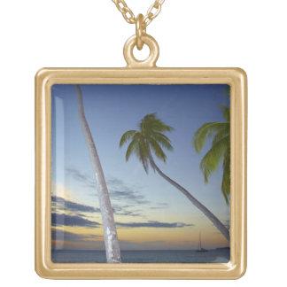Palm trees and sunset, Plantation Island Resort Custom Necklace