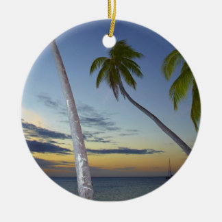 Palm trees and sunset, Plantation Island Resort Double-Sided Ceramic Round Christmas Ornament