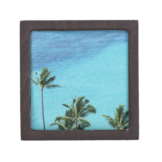 Palm trees and surface of the sea jewelry box