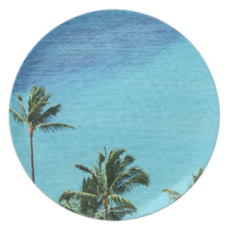 Palm trees and surface of the sea melamine plate