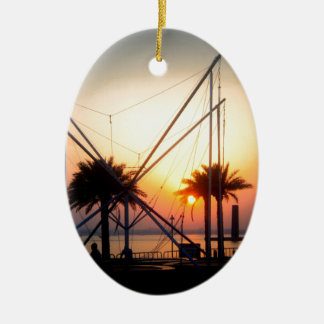 palm trees and trampolin Double-Sided oval ceramic christmas ornament