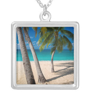 Palm trees and turquoise water along Seven-Mile Silver Plated Necklace