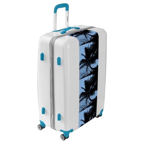 Palm trees and water - Blue Luggage