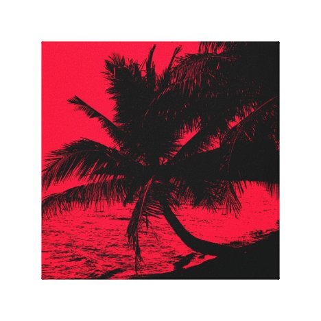 Palm trees and water - Red Canvas Print