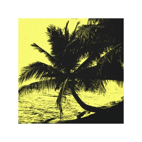 Palm trees and water - Yellow Canvas Print