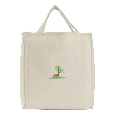 Beach Themed Palm Trees At Sunset Embroidered Tote Bag