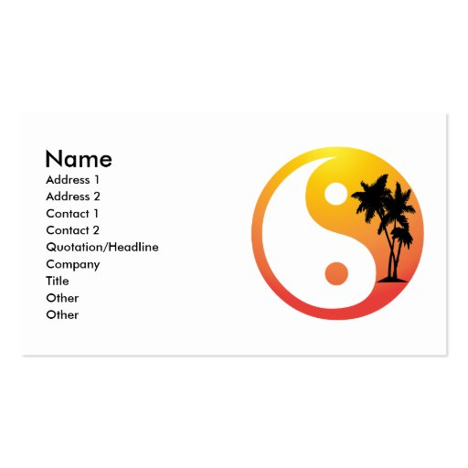 Palm trees at sunset yin yang business card from zazzle.com