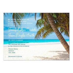 Palm Trees Beach Destination Wedding Invitations 4.5