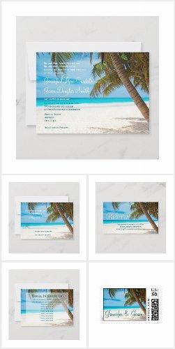 Palm Trees Beach Destination Wedding Invite Set