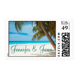 Palm Trees Beach Destination Wedding Postage Stamp