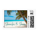 Palm Trees Beach Destination Wedding Postage Stamp