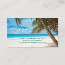 Palm Trees Beach Destination Wedding RSVP Cards