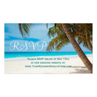 Palm Trees Beach Destination Wedding RSVP Cards Double-Sided Standard Business Cards (Pack Of 100)