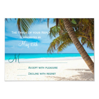 Palm Trees Beach Destination Wedding RSVP Cards Invite