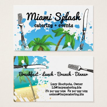 Beach Themed Palm trees beach ocean fork utensils chef catering business card