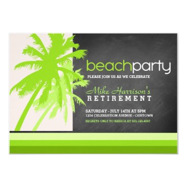 Beach Themed Palm Trees Beach Party Invitations
