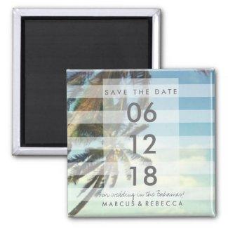 Palm Trees Beach Save Date Wedding Magnet