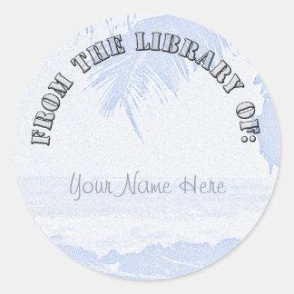 Palm Trees Beach Scene Classic Round Sticker