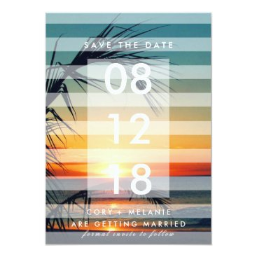 Beach Themed Palm Trees Beach Sunset Photo Save the Dates Card