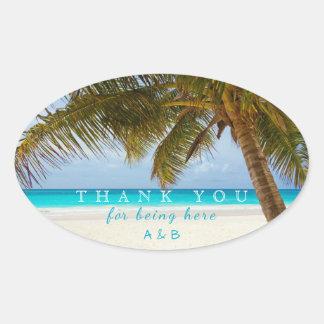 Palm Trees Beach Thank-You Wedding Oval Sticker
