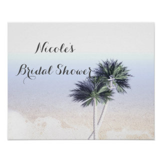 Palm Trees Beach Tropical Bridal Shower Banner Poster