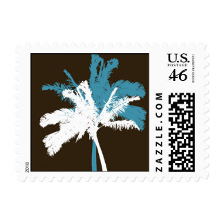 palm trees beach wedding postage stamp