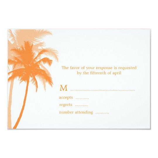 Palm Trees Beach Wedding Response Cards