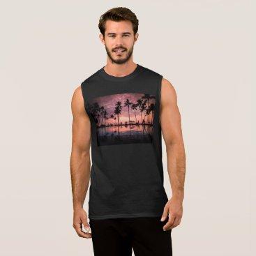 Beach Themed Palm Trees Behind A Deep Sunrise Sleeveless Shirt